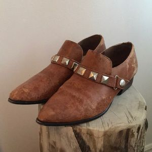 Vintage Studded Brown Loafer Low Heel Shoe